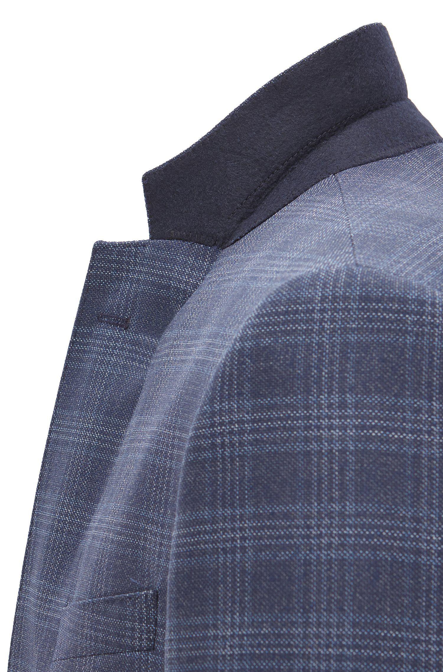 Slim-fit kostuum van geruite scheerwolserge