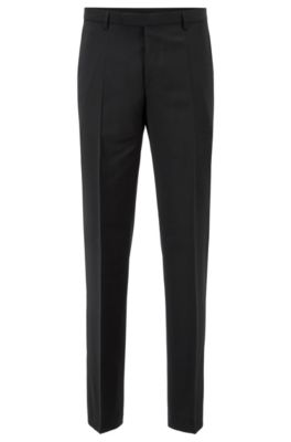 Regular-fit pantalon van scheerwol, Zwart