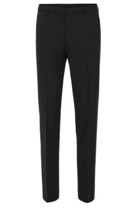 Pantalon business Regular Fit en laine vierge, Noir