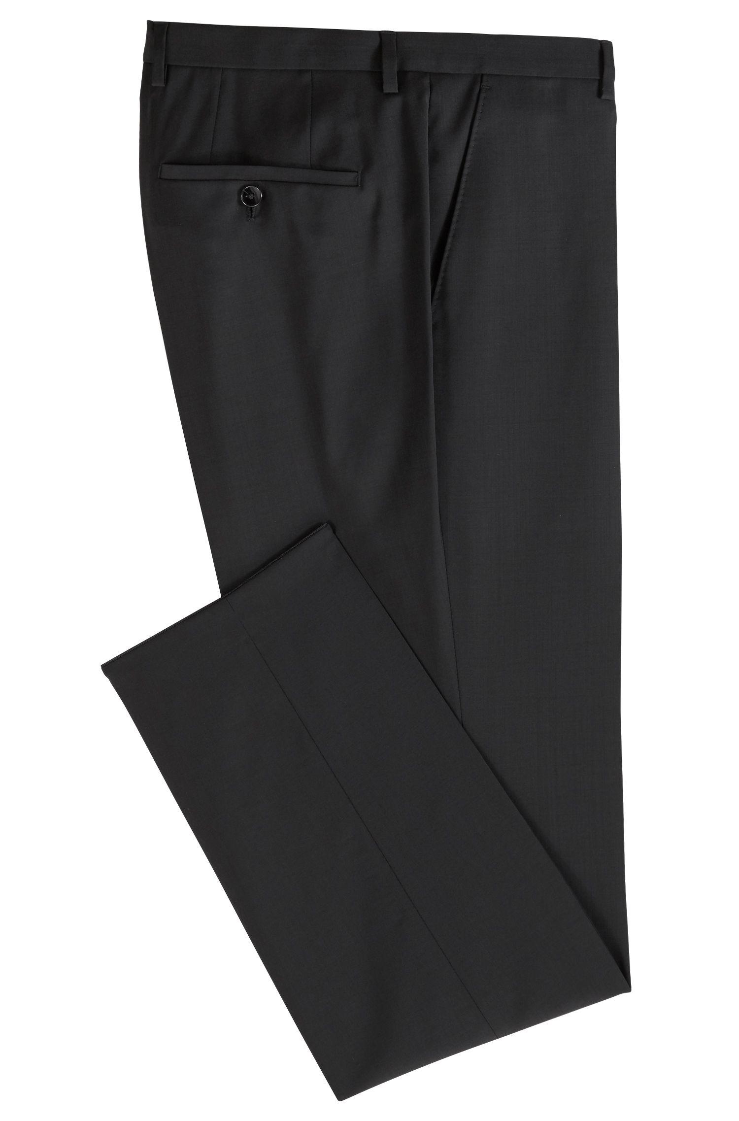 Pantalon business Regular Fit en laine vierge, Noir