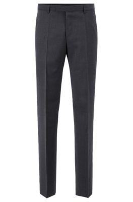Regular-fit pantalon van scheerwol, Donkergrijs