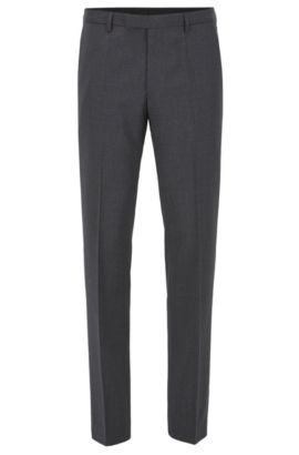 Pantalon business Regular Fit en laine vierge, Gris sombre