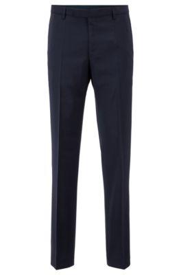Regular-fit pantalon van scheerwol, Donkerblauw
