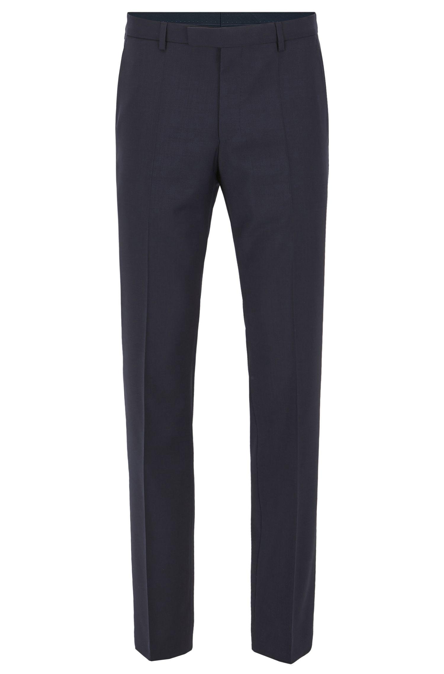 Pantalon business Regular Fit en laine vierge, Bleu foncé