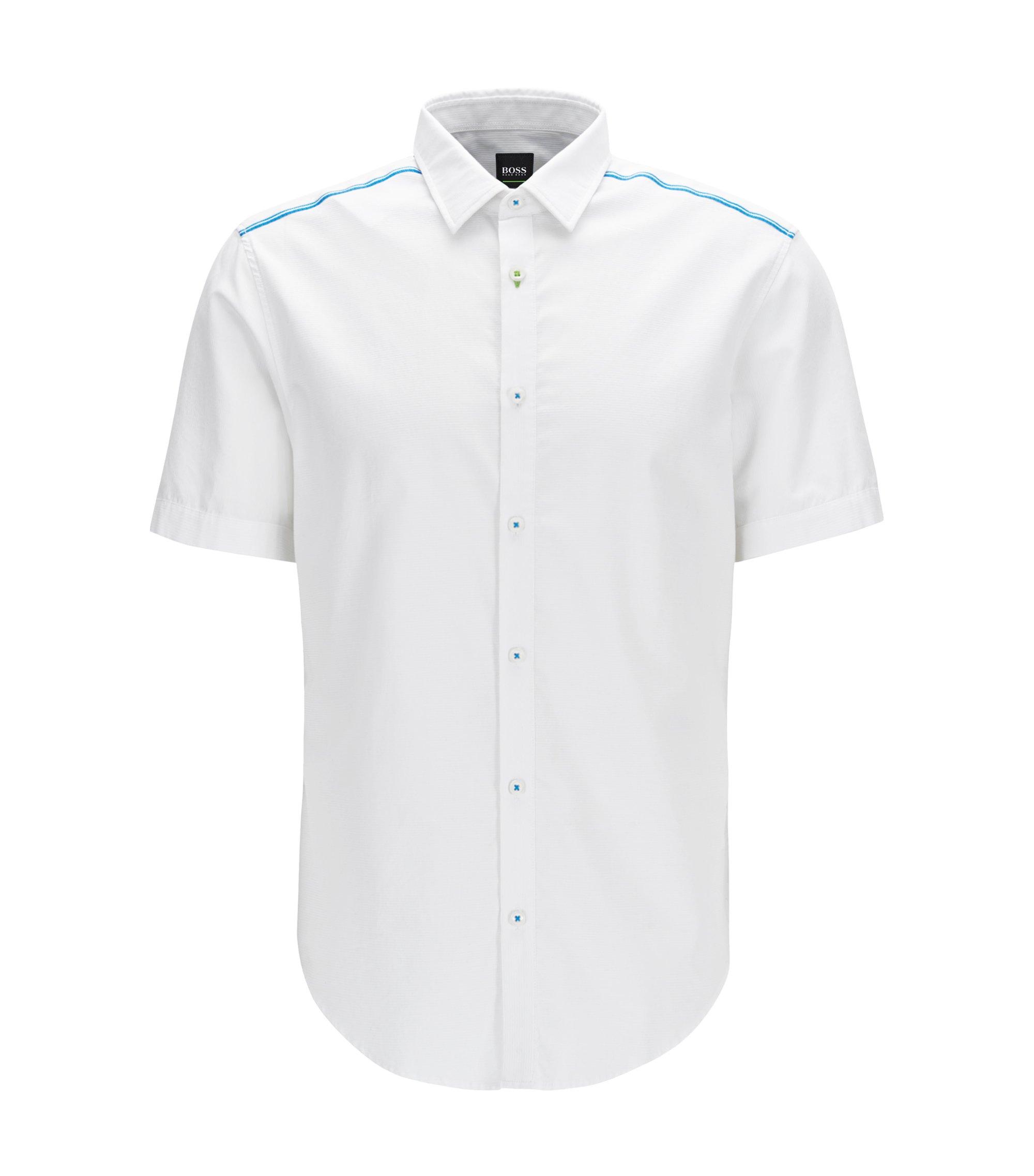 Camisa slim fit en algodón con control de la humedad, Blanco