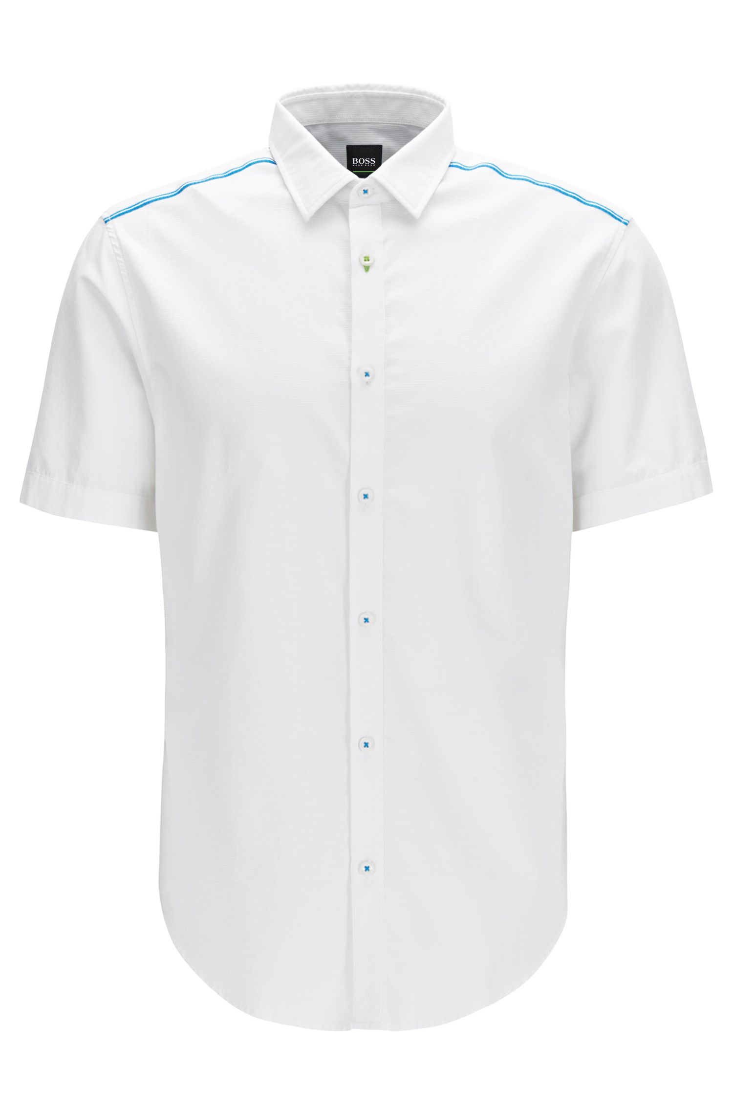 Slim-fit shirt in moisture-management cotton