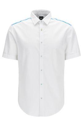 Slim-fit overhemd van vochtafvoerend katoen, Wit