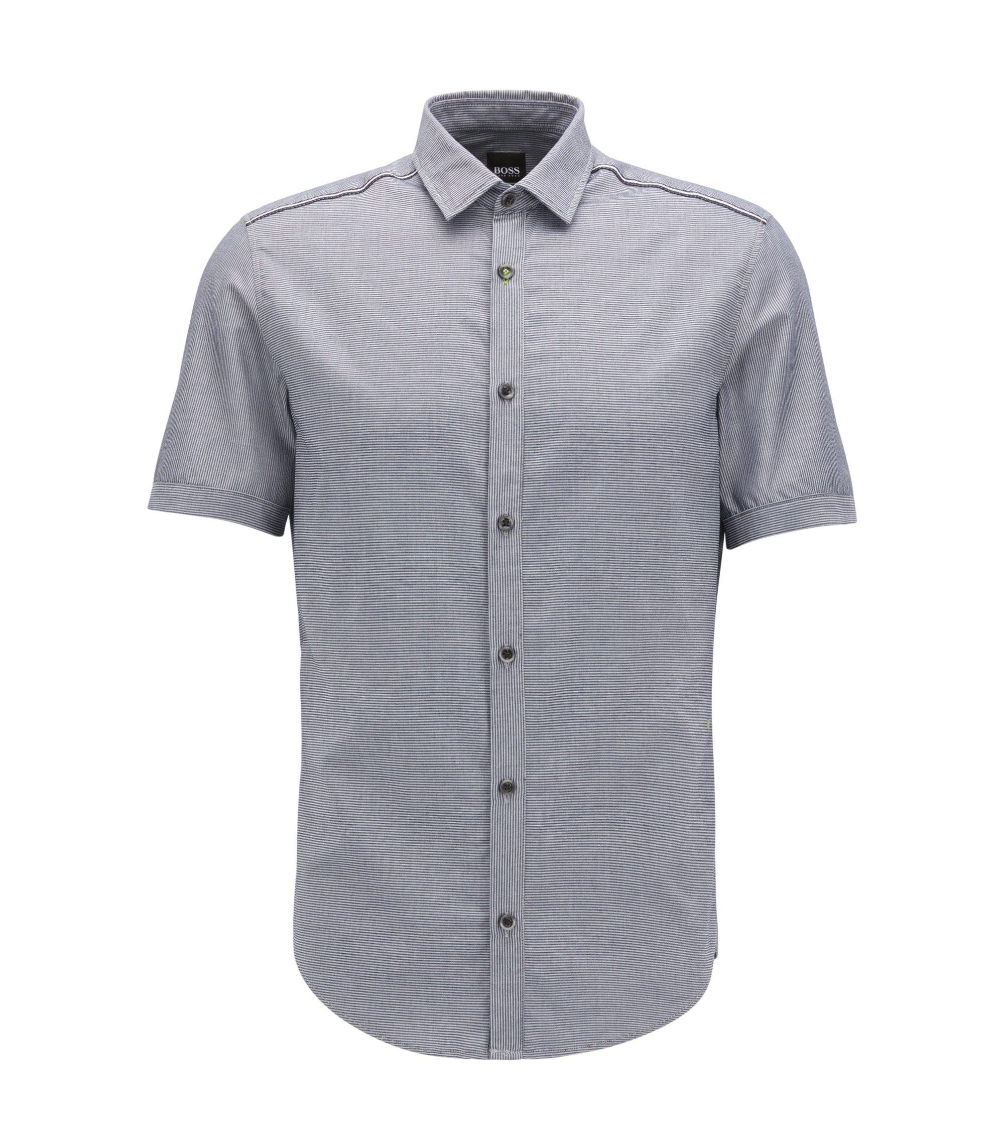 Slim-Fit Kurzarm-Hemd aus feuchtigkeitsableitender Stretch-Baumwolle, Dunkelblau