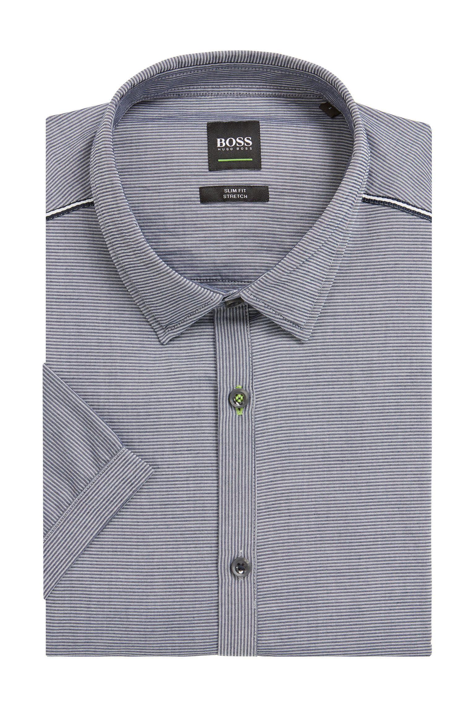 Slim-Fit Kurzarm-Hemd aus feuchtigkeitsableitender Stretch-Baumwolle