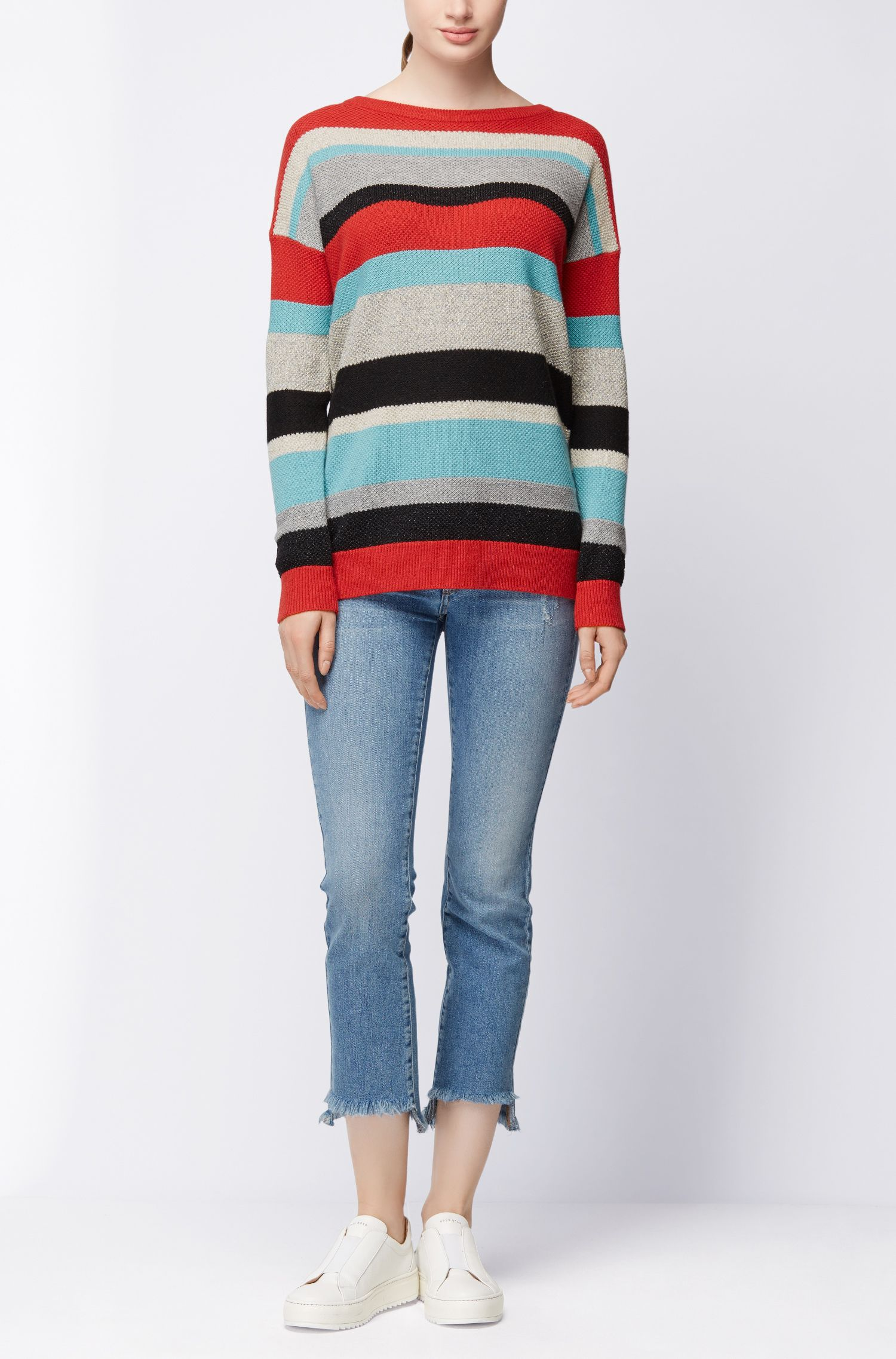 Multi-colour striped sweater in a structured knit