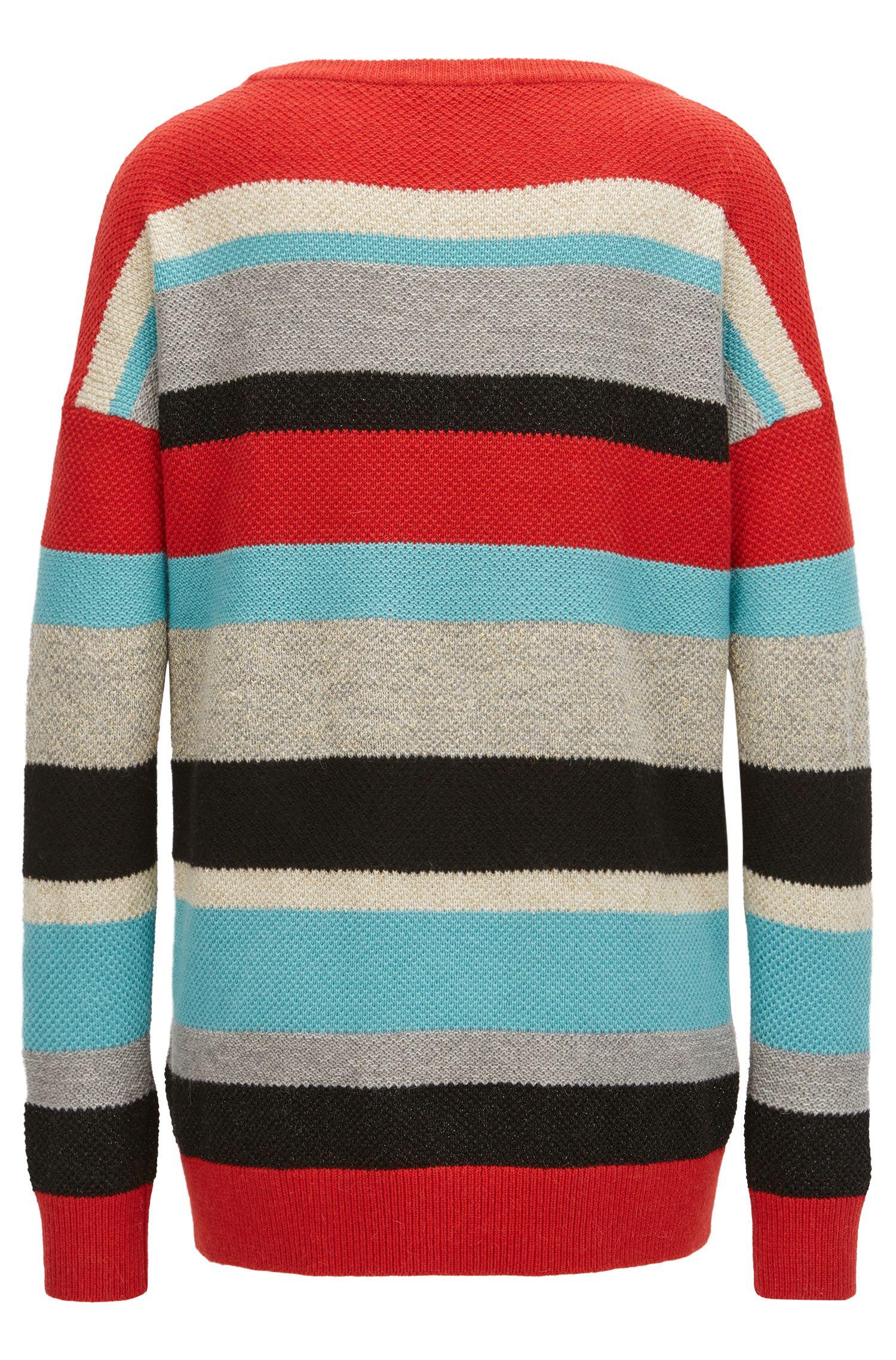 Meerkleurig gestreepte trui in een gestructureerd breisel