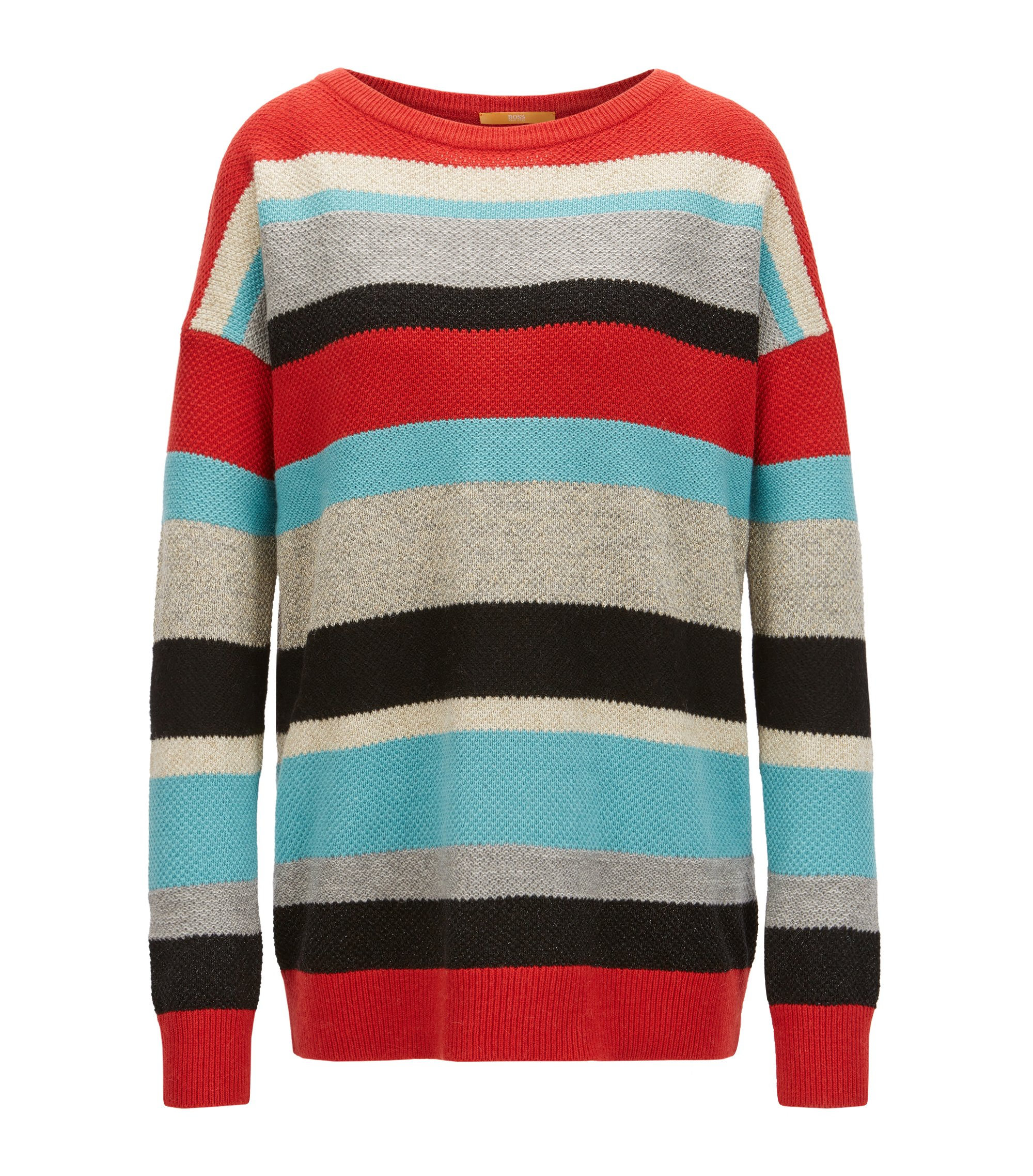 Multi-colour striped sweater in a structured knit, Patterned