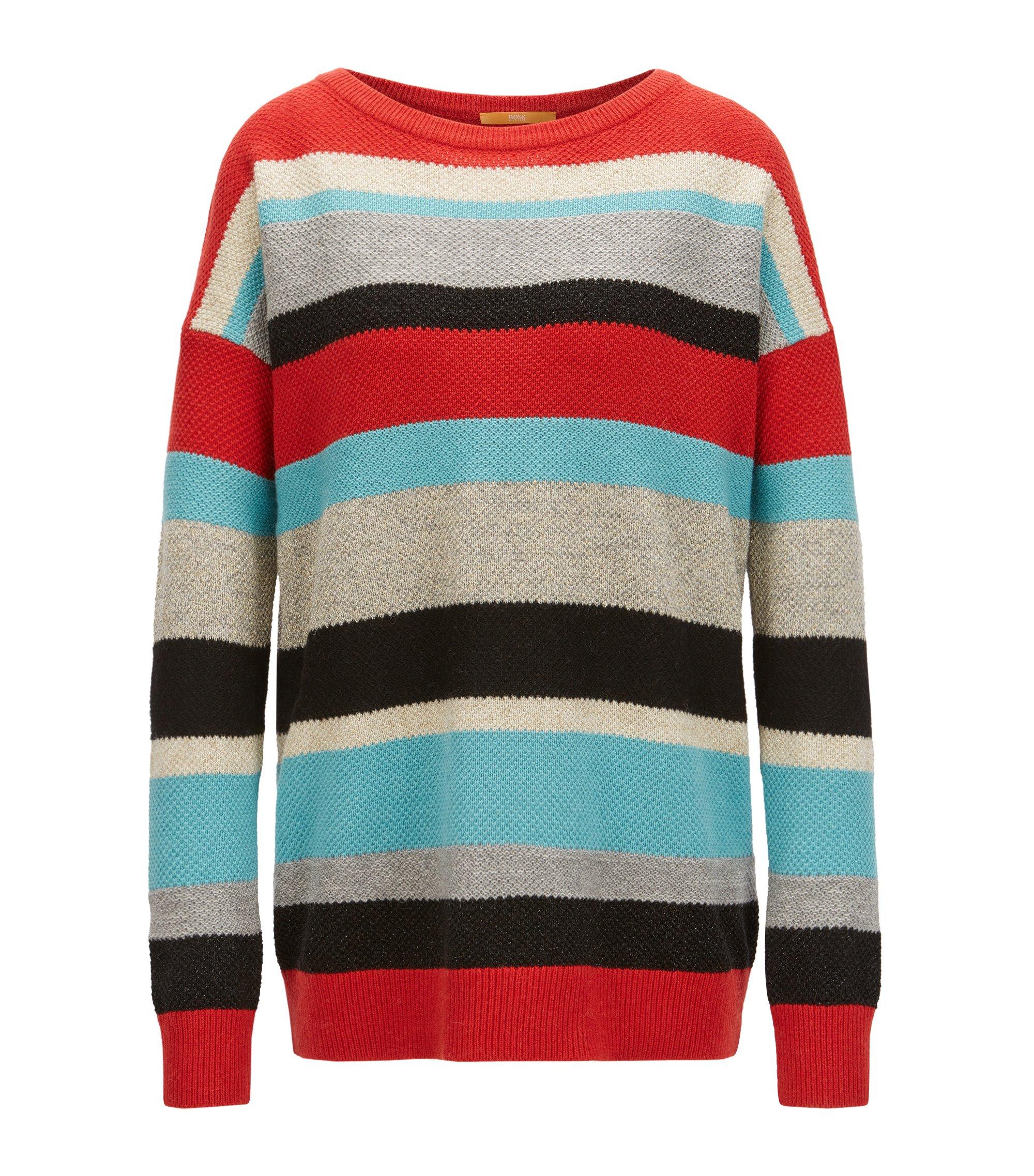 Jersey a rayas de varios colores en punto con textura, Fantasía