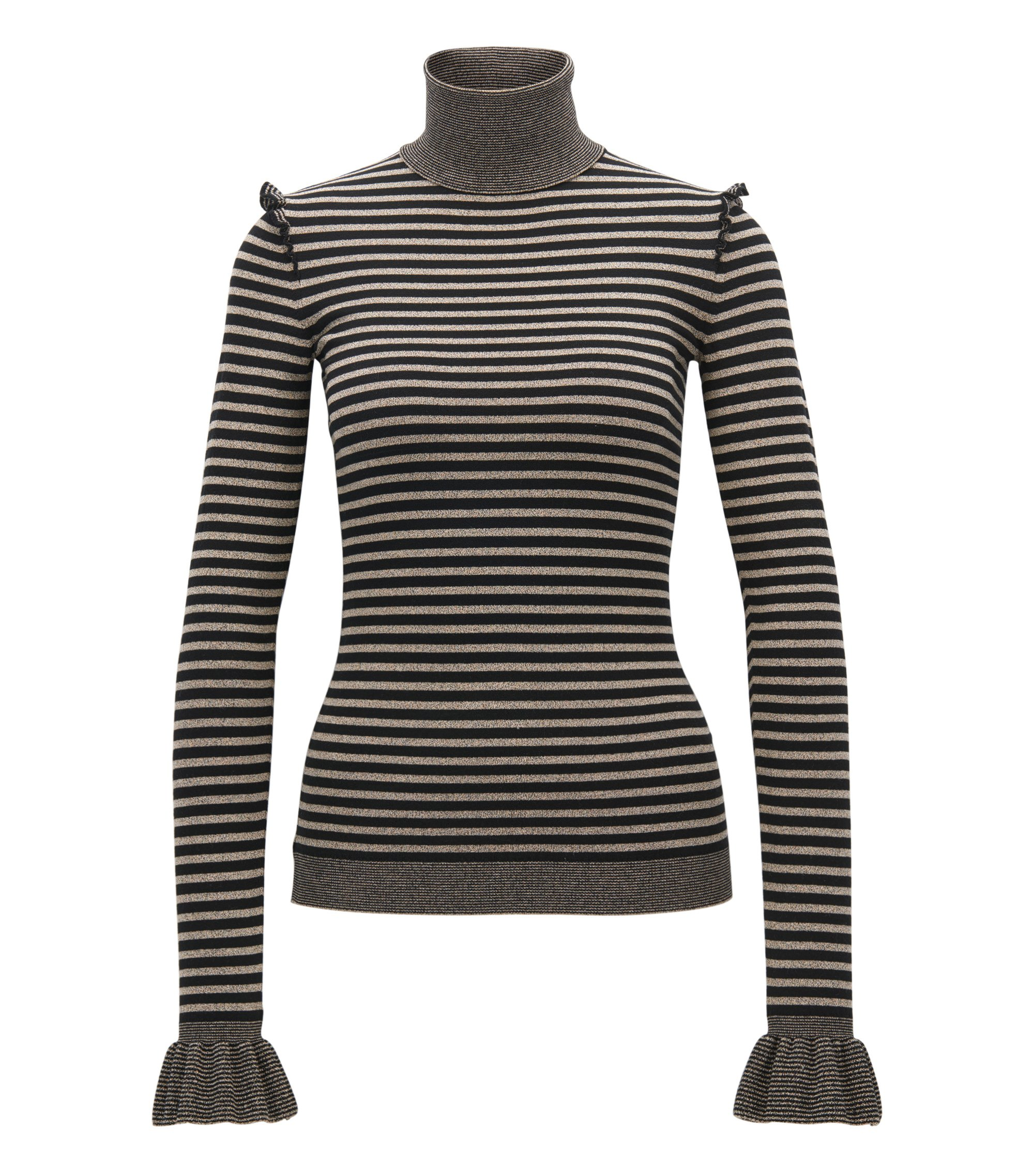 Turtle-neck striped jumper with ruffle details, Beige
