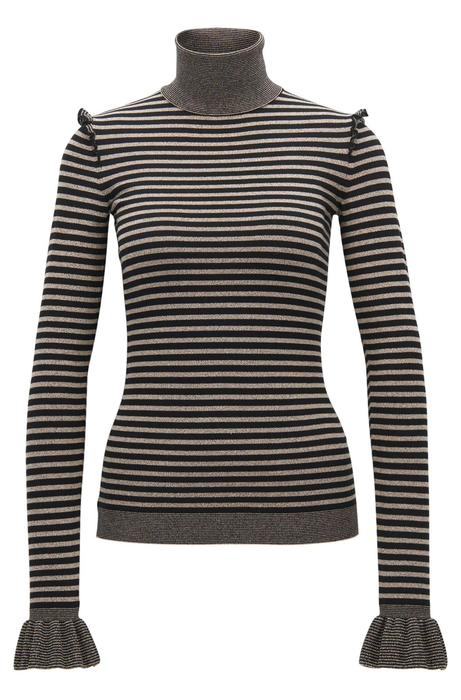 Turtle-neck striped jumper with ruffle details
