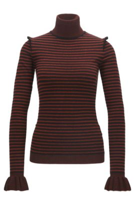 Turtle-neck striped jumper with ruffle details, Red