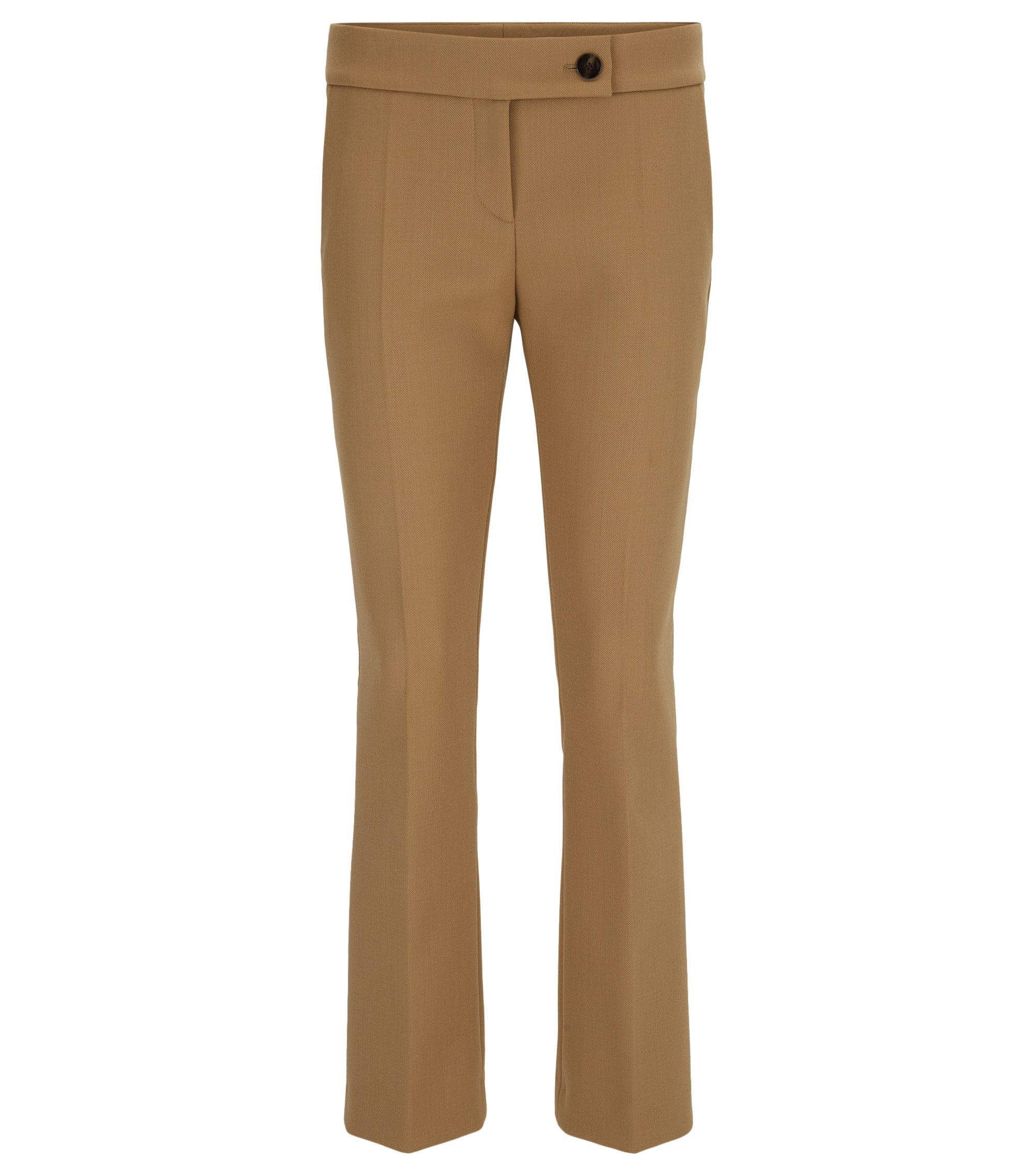 Regular-fit cropped trousers in soft twill, Beige
