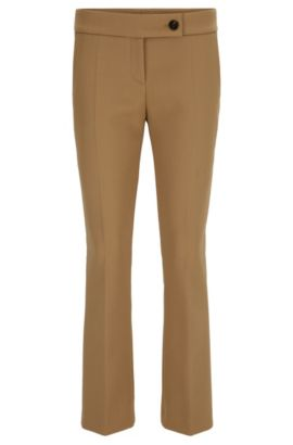 Pantalon raccourci Regular Fit en twill doux, Beige