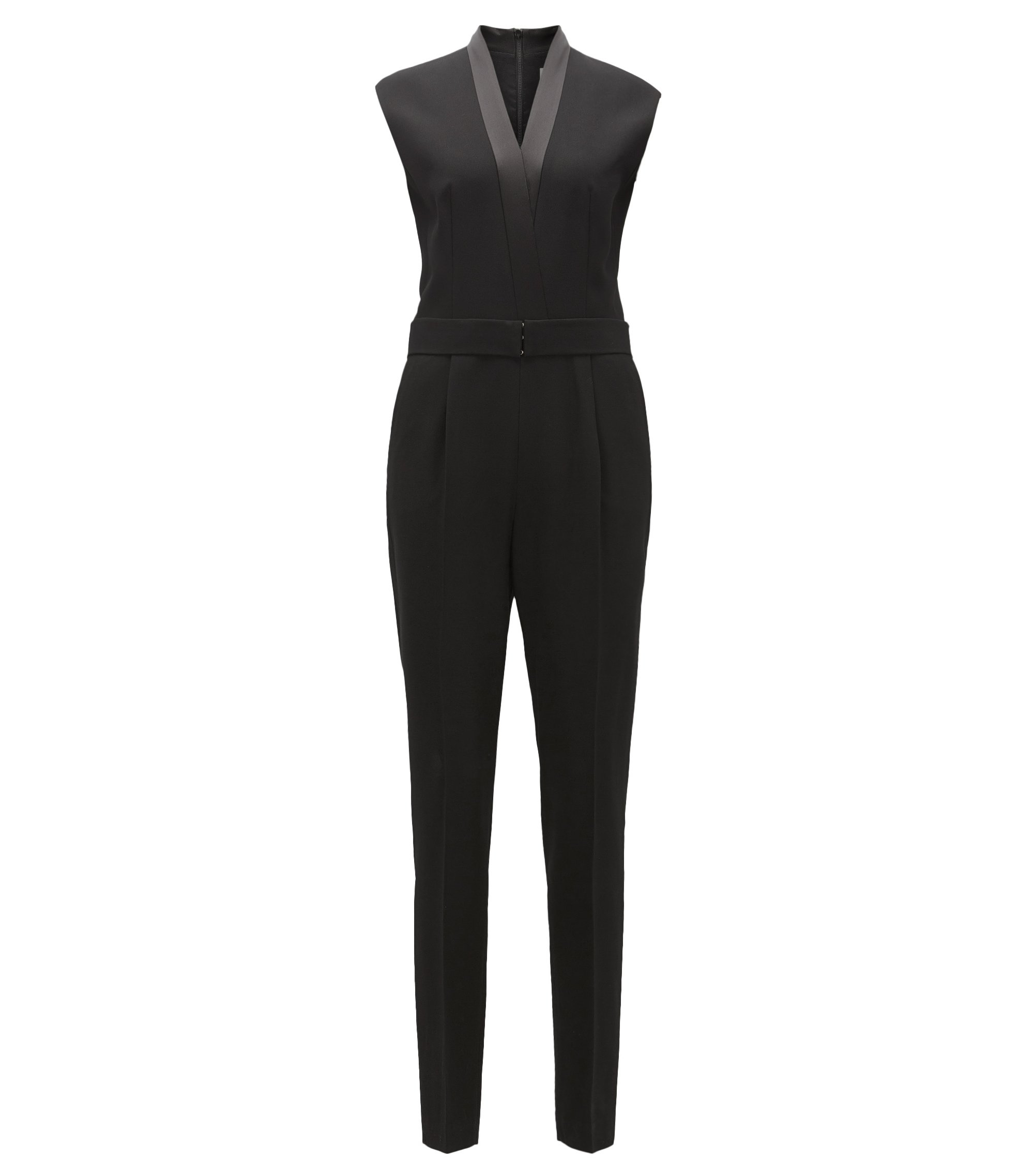 V-neck jumpsuit with satin trims, Black