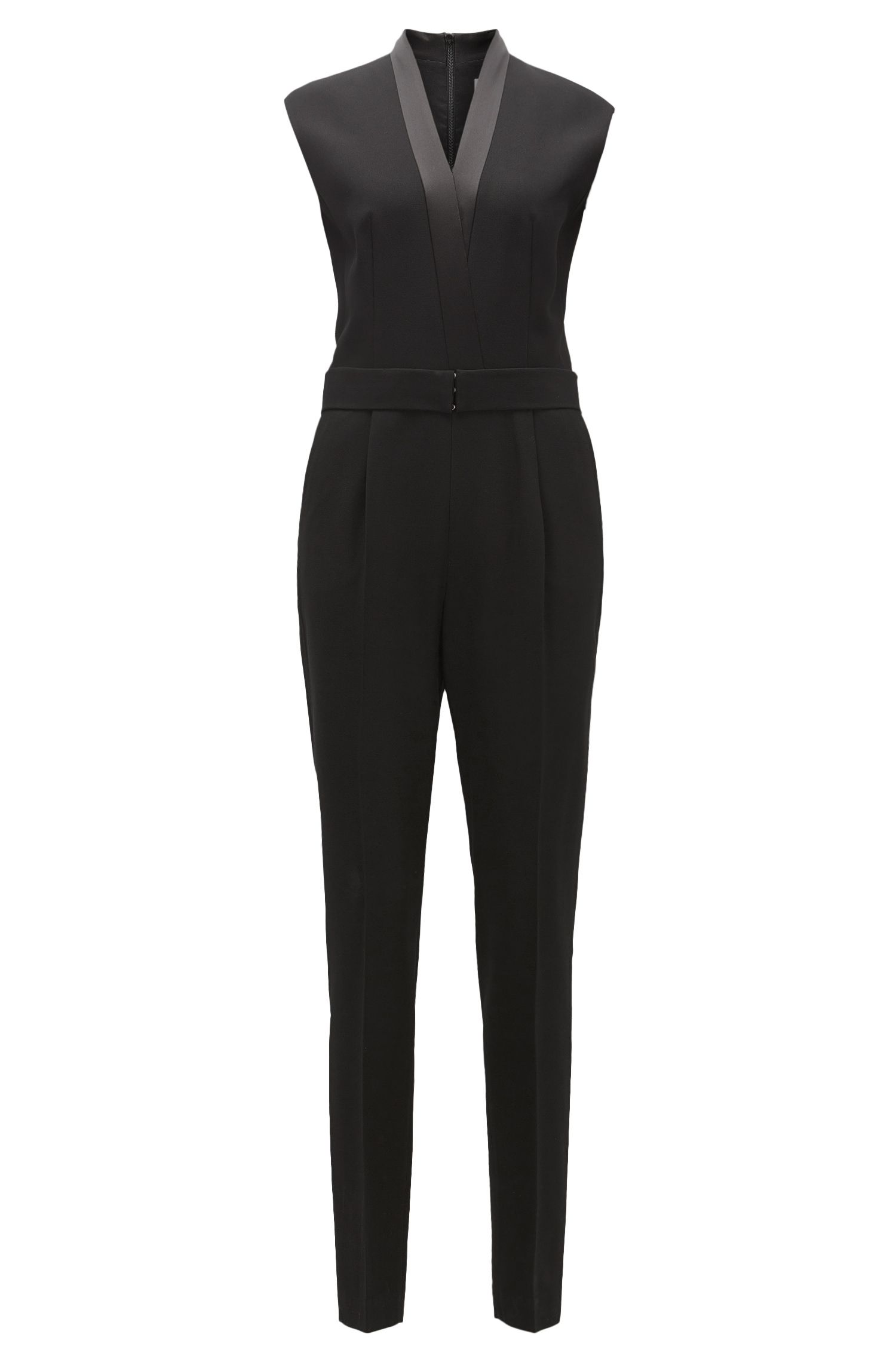 V-neck jumpsuit with satin trims BOSS
