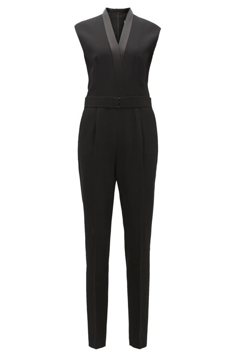 Outlet For Nice V-neck jumpsuit with satin trims BOSS Free Shipping Best Place Lowest Price Cheap Price How Much Buy Cheap Footaction 5HmpFN5
