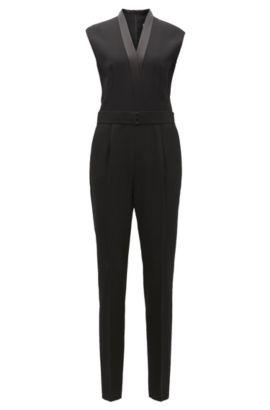 Jumpsuit met V-hals en satijnen decoraties, Zwart