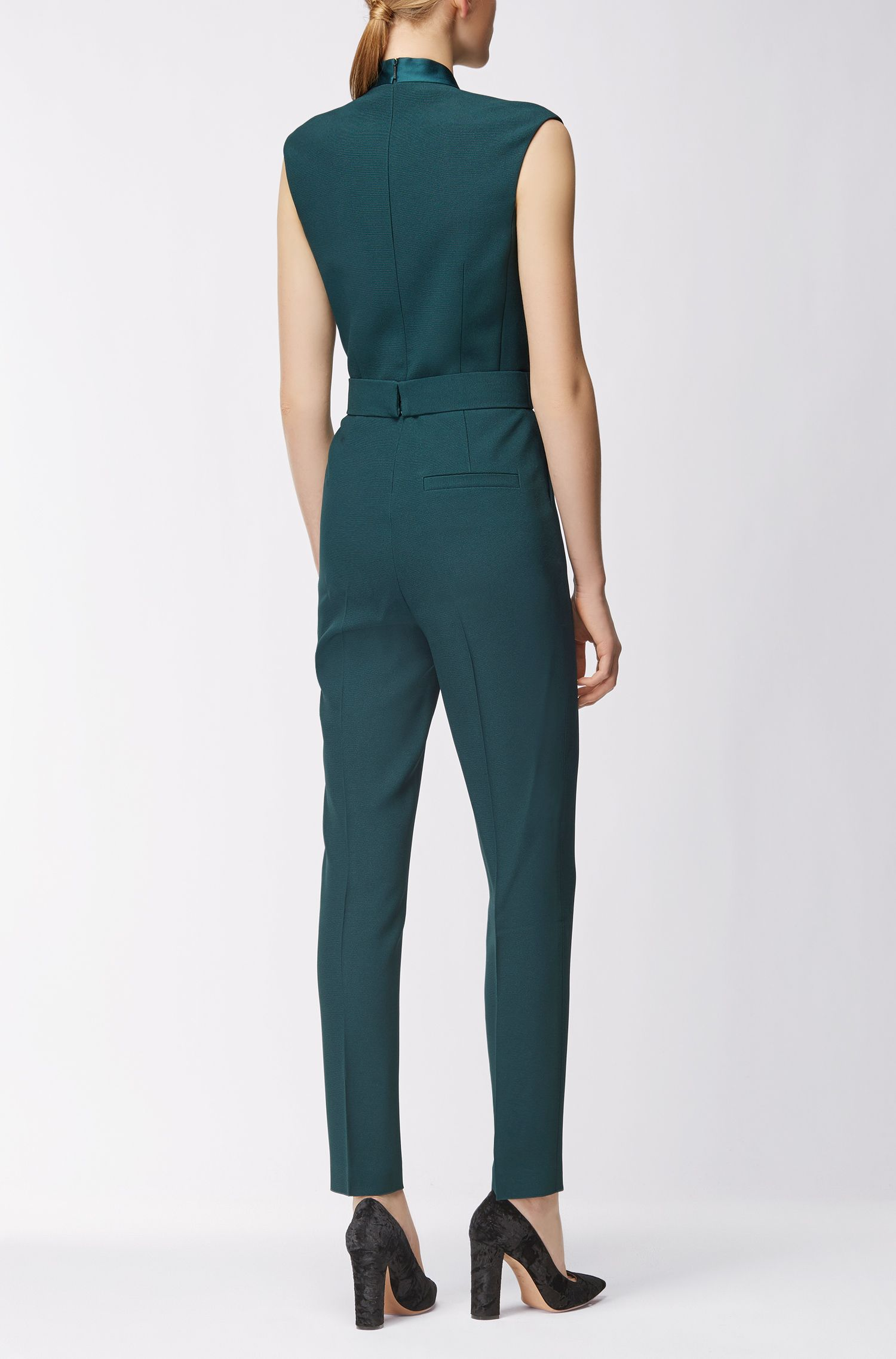 V-neck jumpsuit with satin trims
