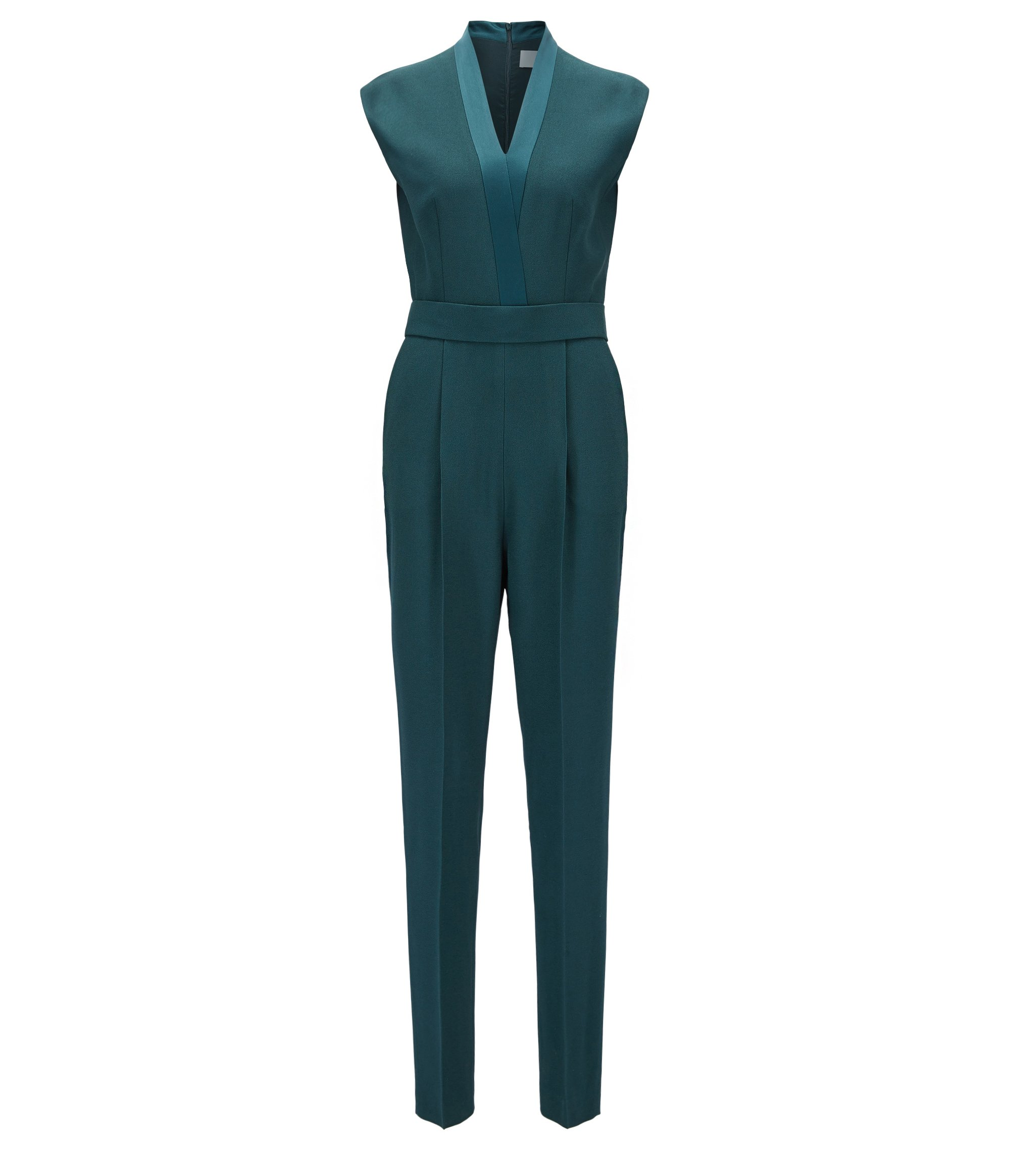 V-neck jumpsuit with satin trims, Dark Green