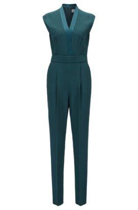 V-neck jumpsuit with satin trims, Dark Green