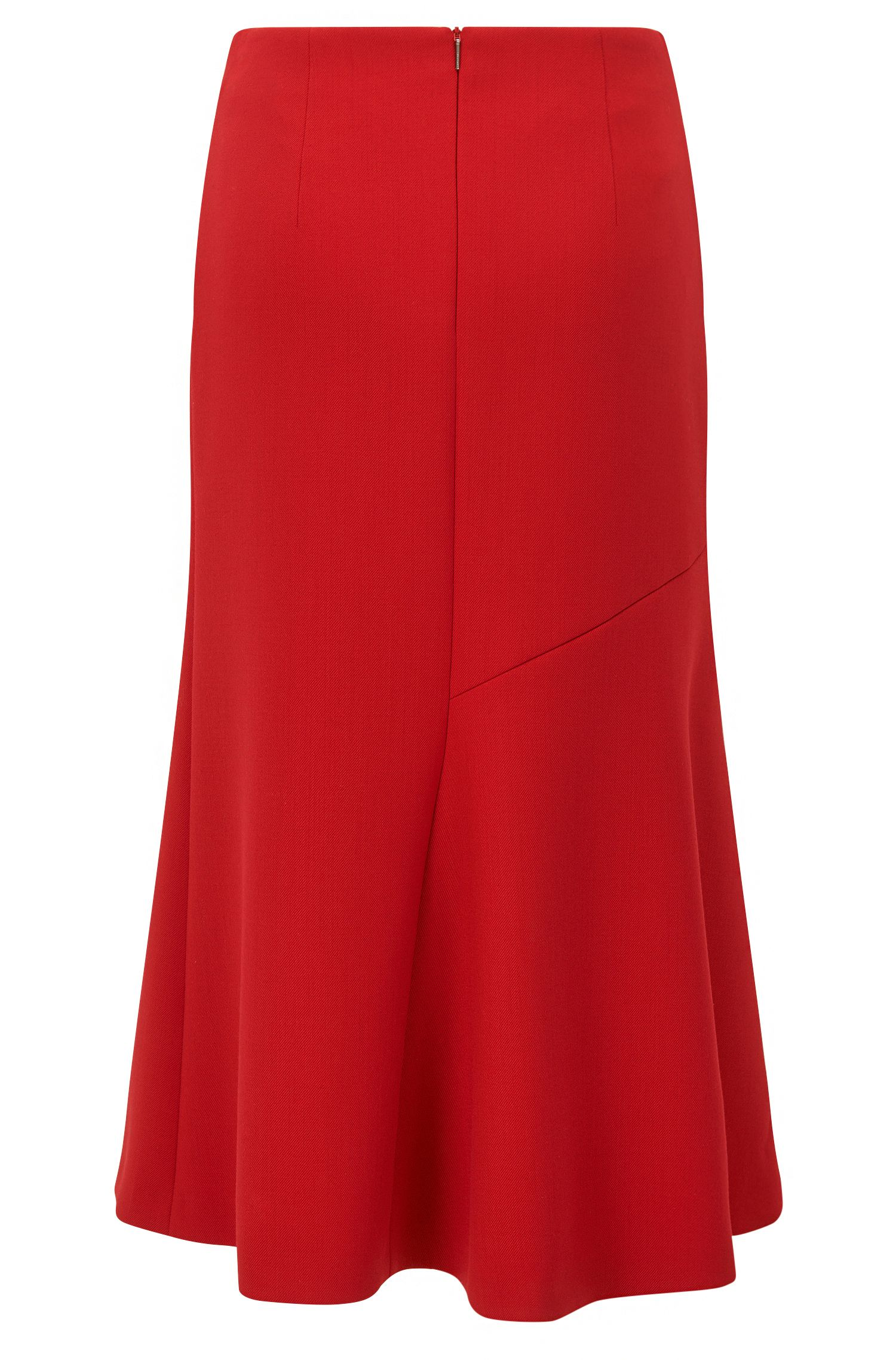 Midi-length skirt in fluid twill