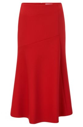 Midi-length skirt in fluid twill, Red
