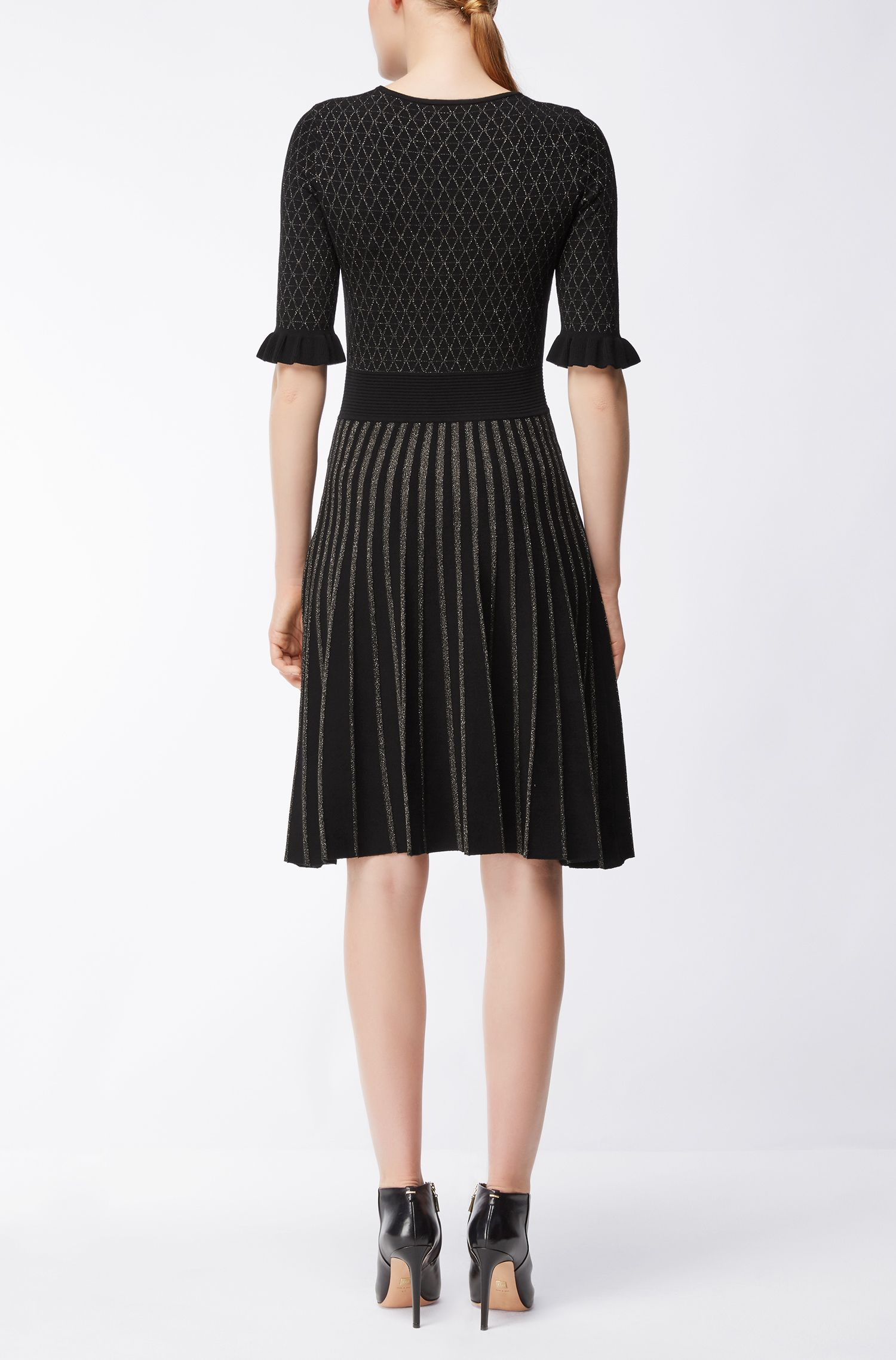Knee-length dress in mixed knitted jacquard