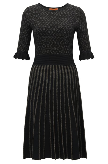 Knee-length dress in mixed knitted jacquard BOSS Excellent For Sale Free Shipping Amazing Price rI6Mc0trt