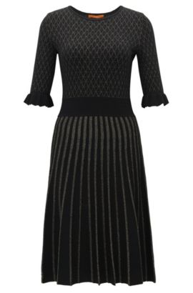 Knee-length dress in mixed knitted jacquard, Black