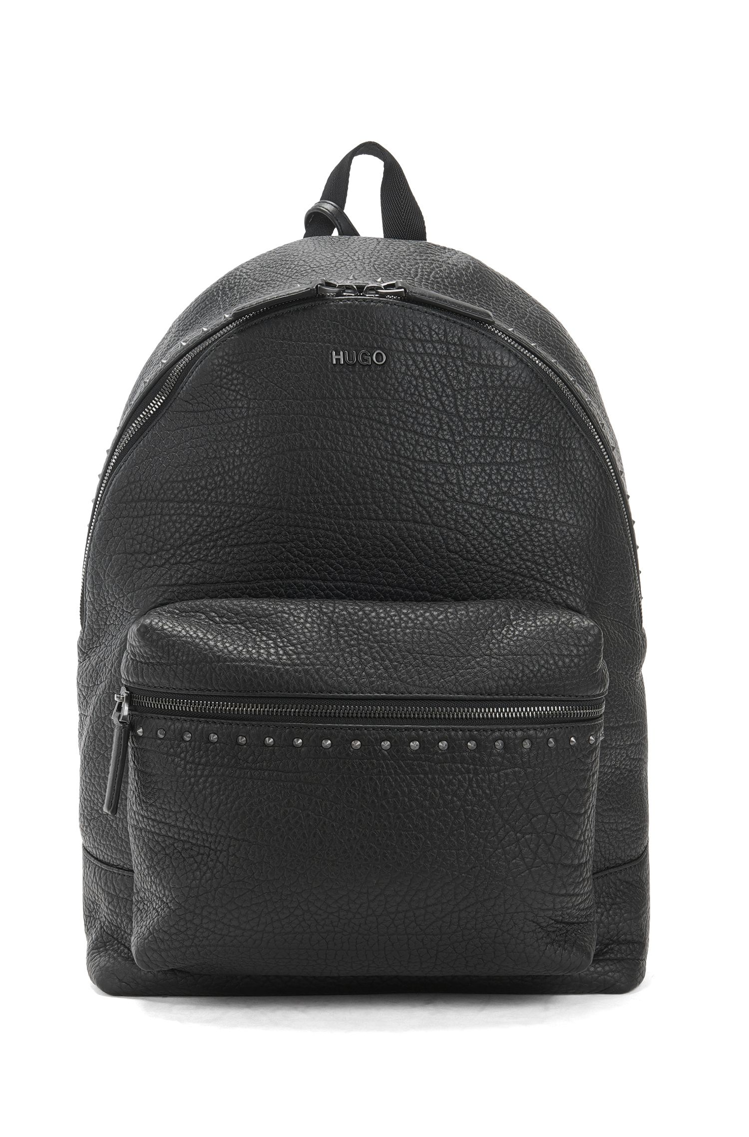 Studded backpack in grained leather