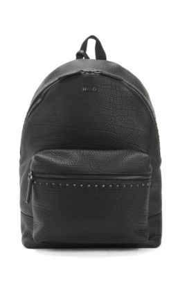 Studded backpack in grained leather, Black