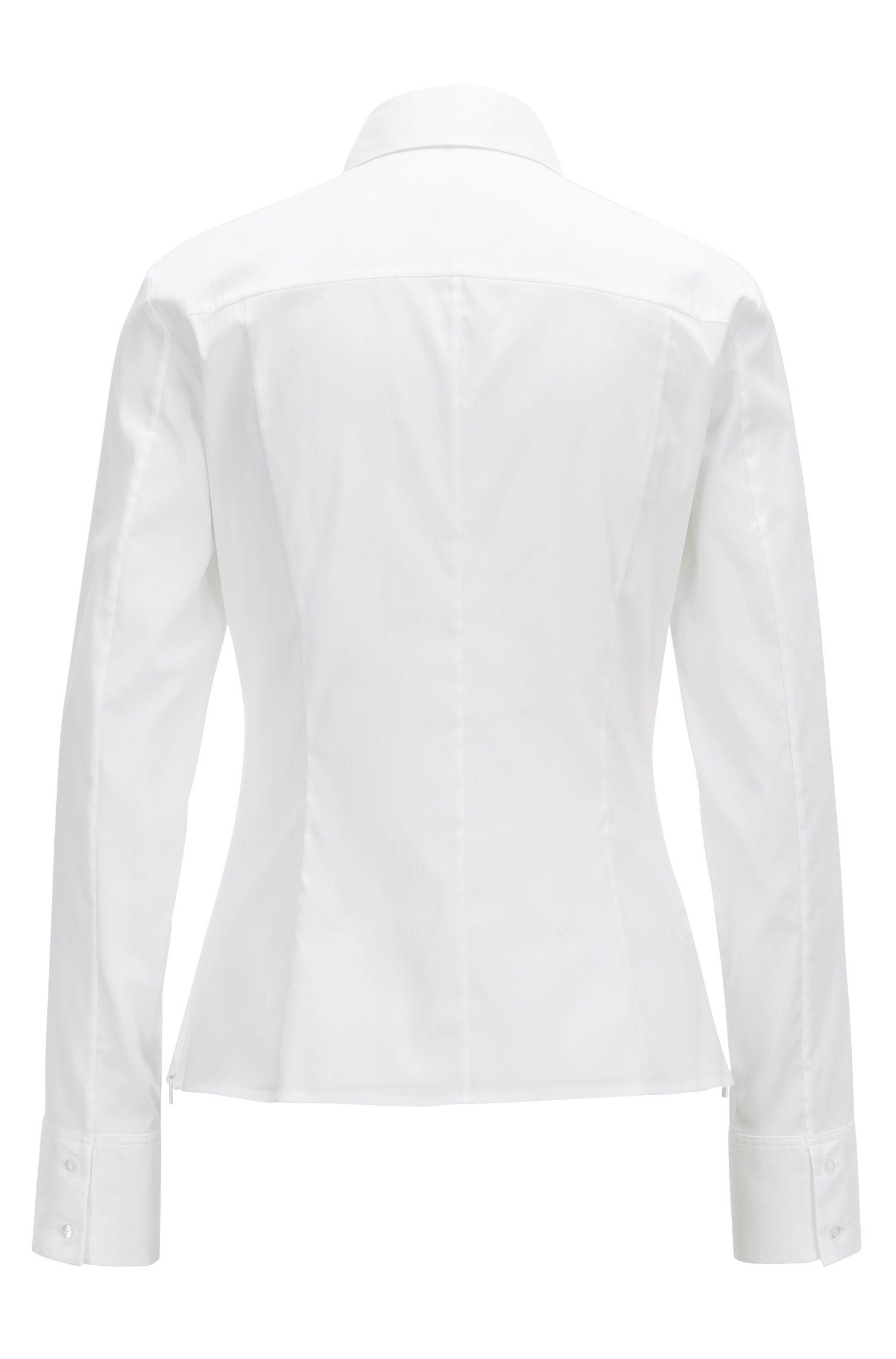 Regular-fit blouse van een katoenmix, met verdekte sluiting
