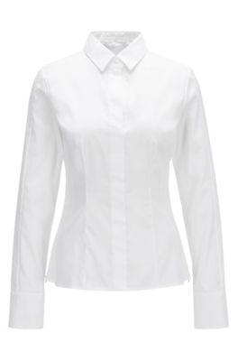 Blusa regular fit en mezcla de algodón con tapeta oculta, Blanco