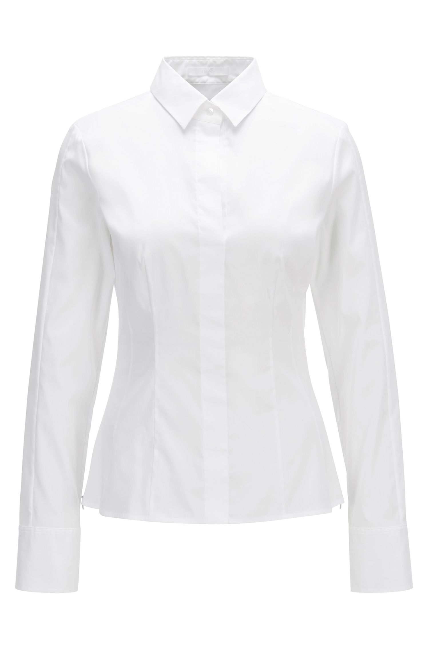 Regular-fit cotton-blend blouse with concealed placket