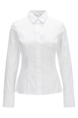 Chemisier en coton mélangé Regular Fit à patte de boutonnage invisible, Blanc