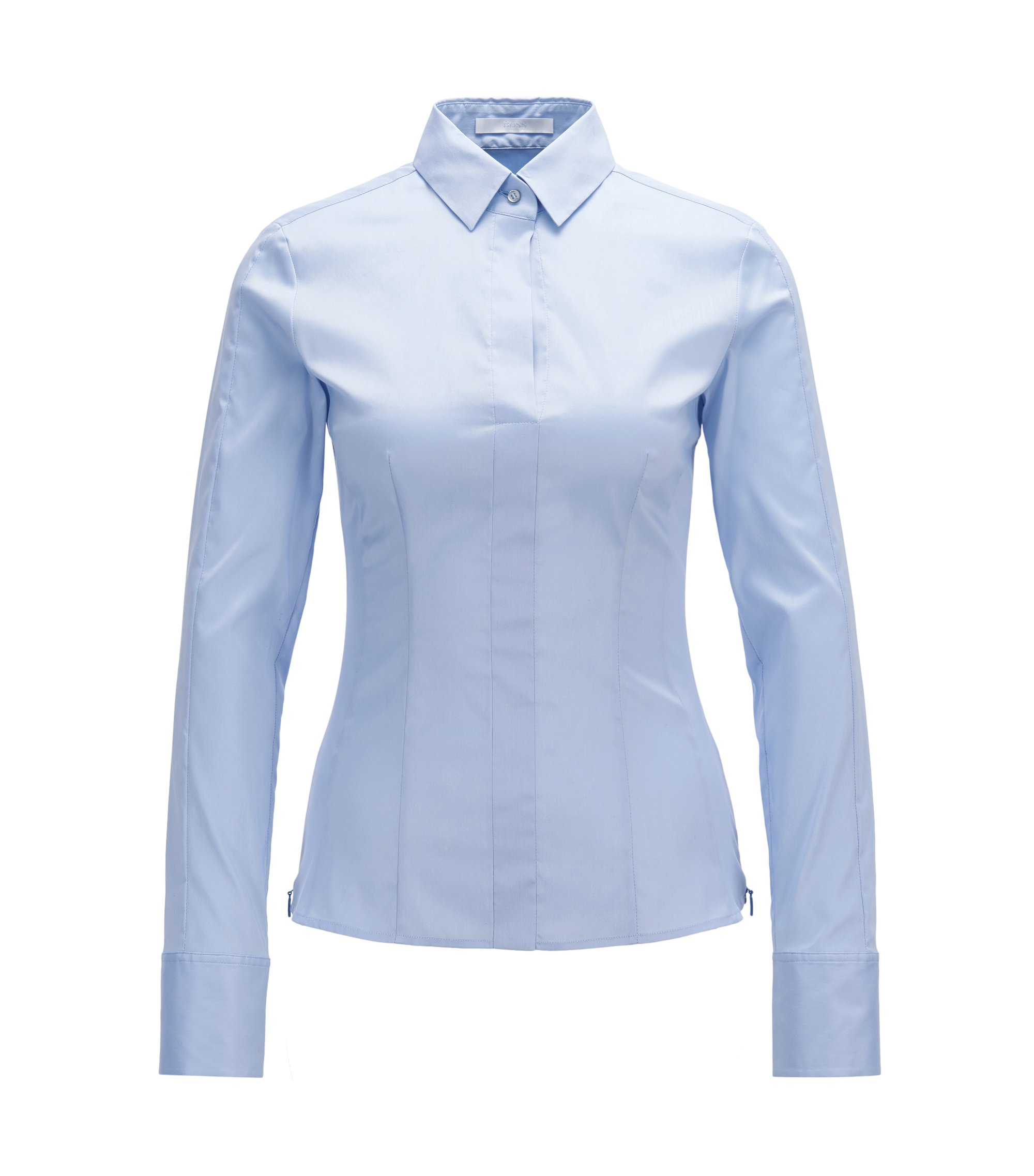 Chemisier en coton mélangé Regular Fit à patte de boutonnage invisible, Bleu vif