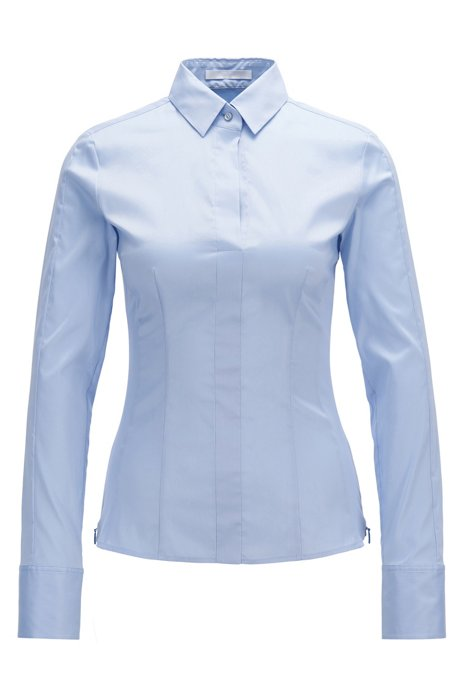 Regular-fit cotton-blend blouse with concealed placket, Light Blue