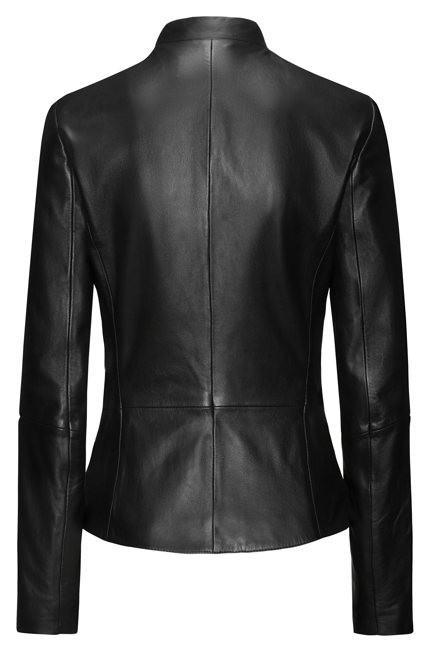 Regular-fit leather jacket with stand collar