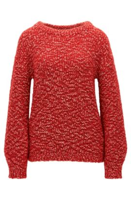 Knitted sweater with dropped shoulders, Red