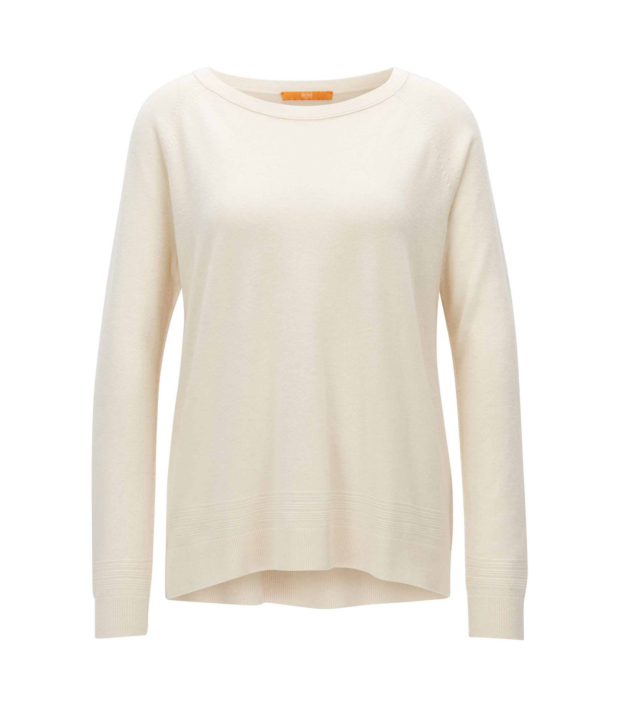 Raglan-sleeved sweater in a cashmere-wool blend, Natural