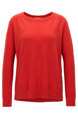 Raglan-sleeved sweater in a cashmere-wool blend, Red