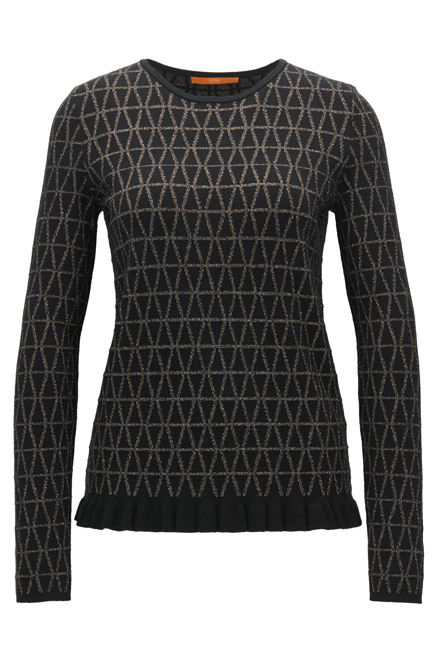 Pullover aus Jacquard mit Rundhalsausschnitt und Rüschen-Detail am Saum