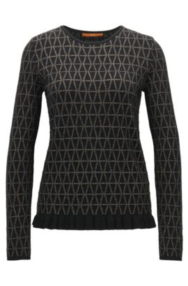 Crew-neck jacquard jumper with ruffle hem, Black