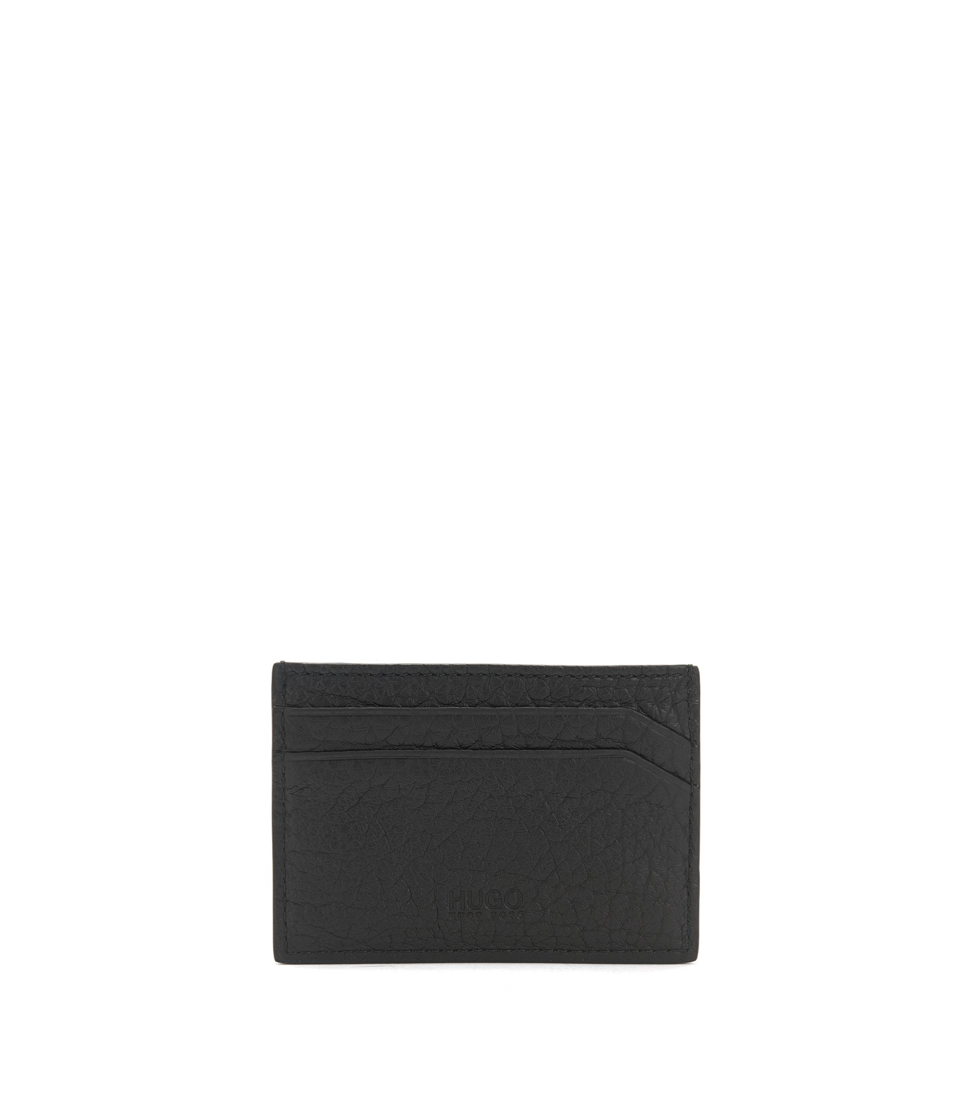 Studded card holder in textured leather, Black