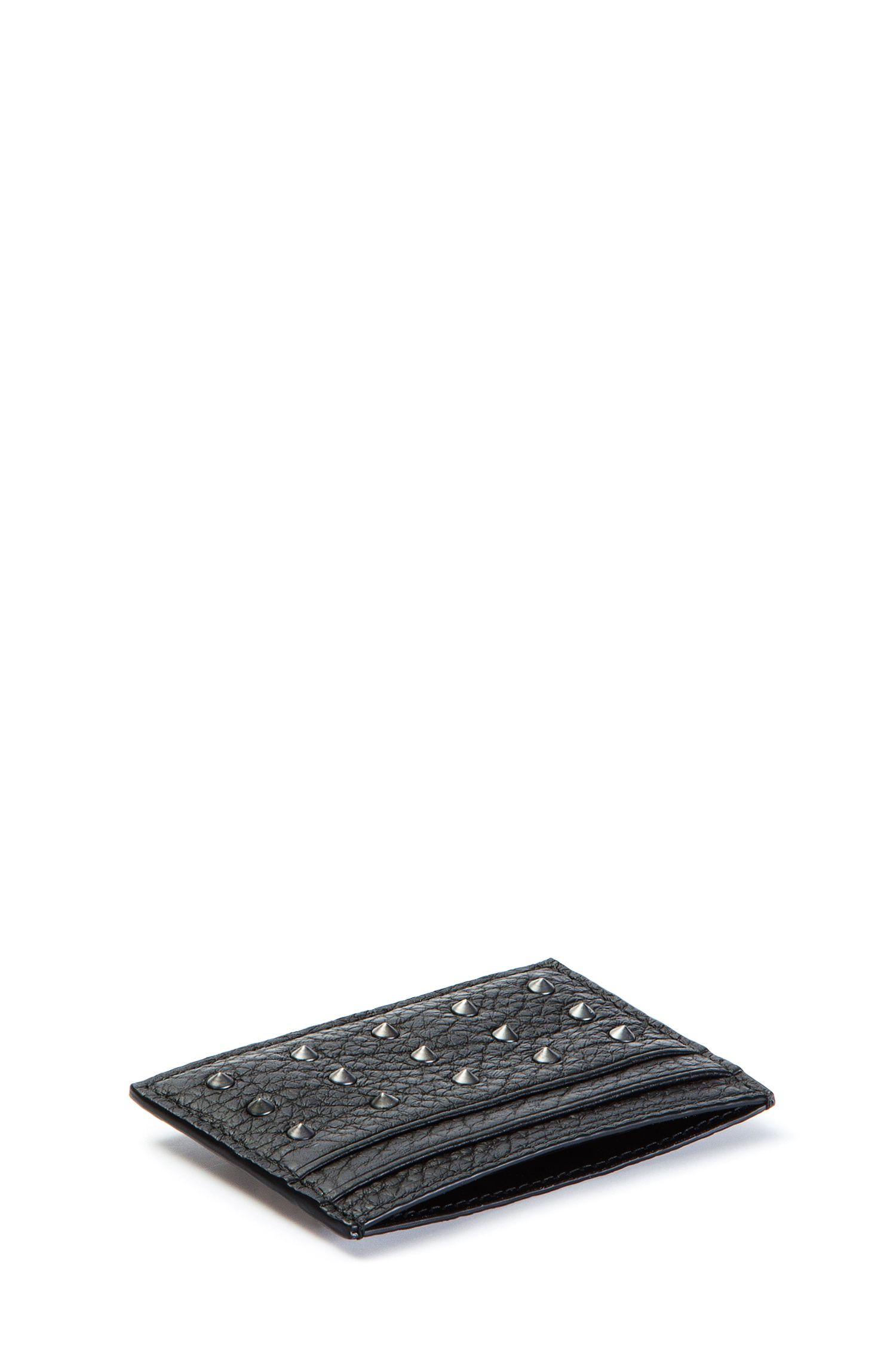 Studded card holder in textured leather